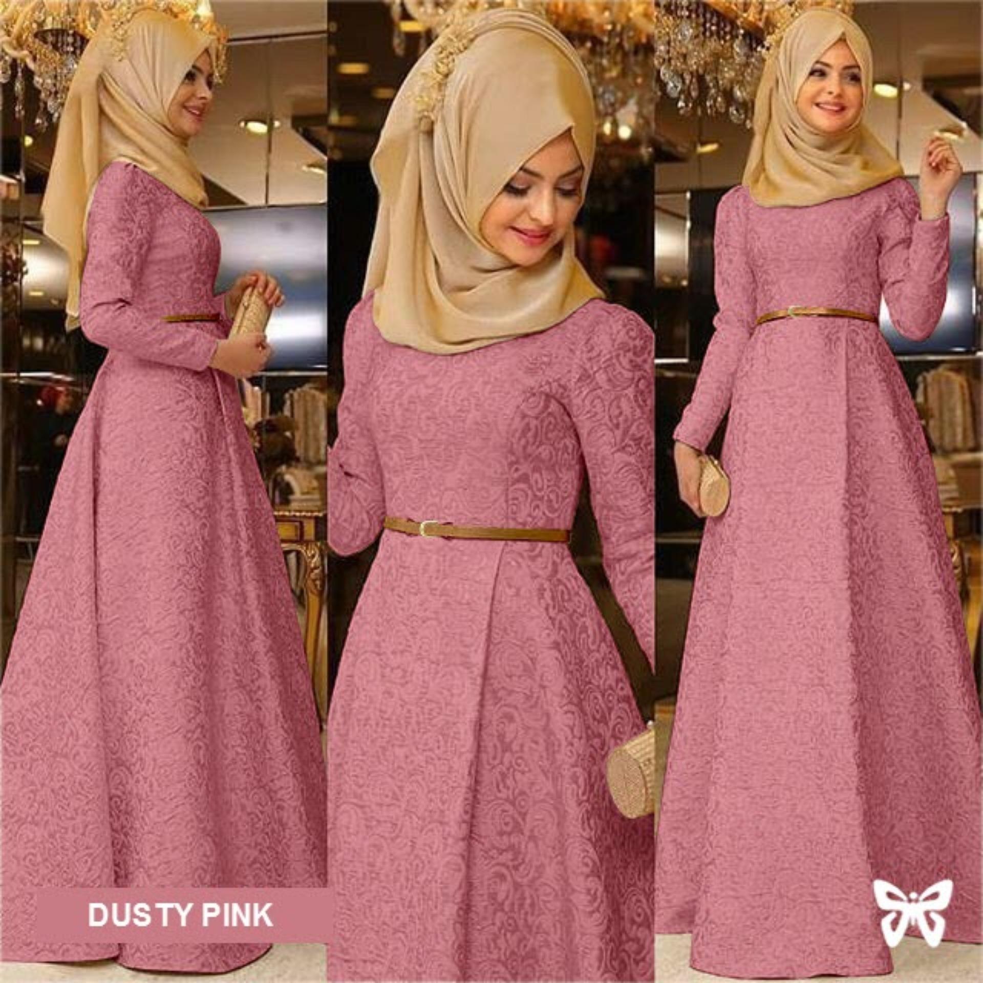 Flavia Store Maxi Dress Lengan Panjang Set 3 in 1 FS0224 - DUSTY PINK / Gamis Syari / Gaun Pesta Muslimah / Baju Muslim Wanita Syar'i / Hijab / Srzamirah