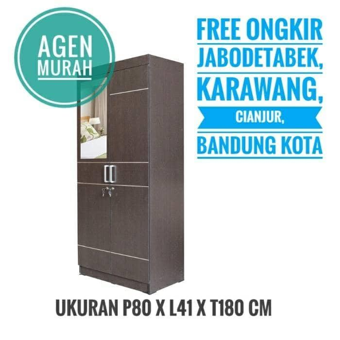 Promo  Lemari Kayu 2 Pintu Rak Baju Gantungan Full Rangka Minimalis Modern  Original