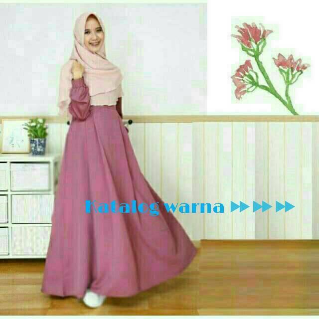 Gamis baloteli shofiya dress kualitas dress resa hijab busana syari baju muslim kaftan maxidress (hijau botol)