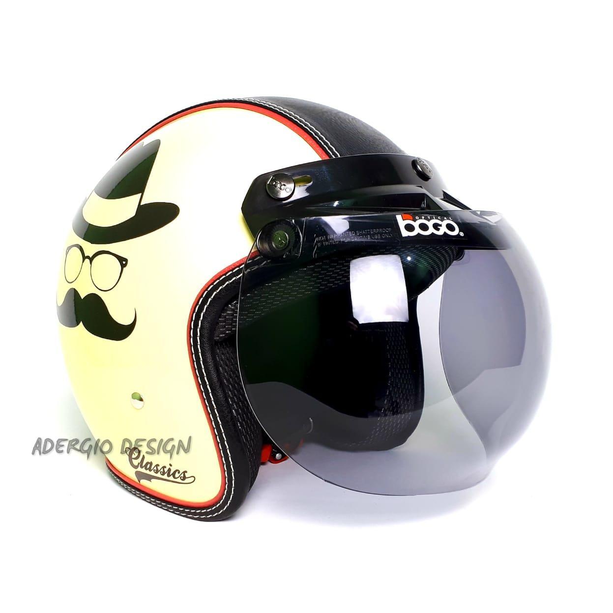 Jual List Helm Shoei Promo Cakil Hbc Rust Dust Hitam Doff Emas Bogo Classic Kaca Ori Sni Semi Kulit Motif Mustache Cream Merah