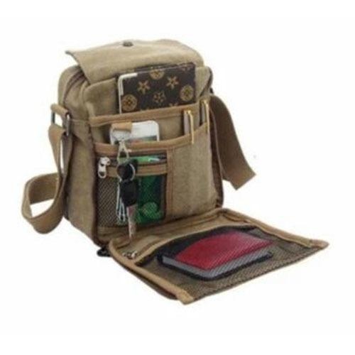 Ultimate Tas Selempang Pria Men Vintage CanvasMultifunction Travel Satchel Messenger Shoulder Bag 1607-7+ Coklat