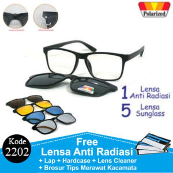 Promo: Frame Kacamata Minus Anti Radiasi Rayban Clip On 5 Lensa Polaroid 2202 - ready stock