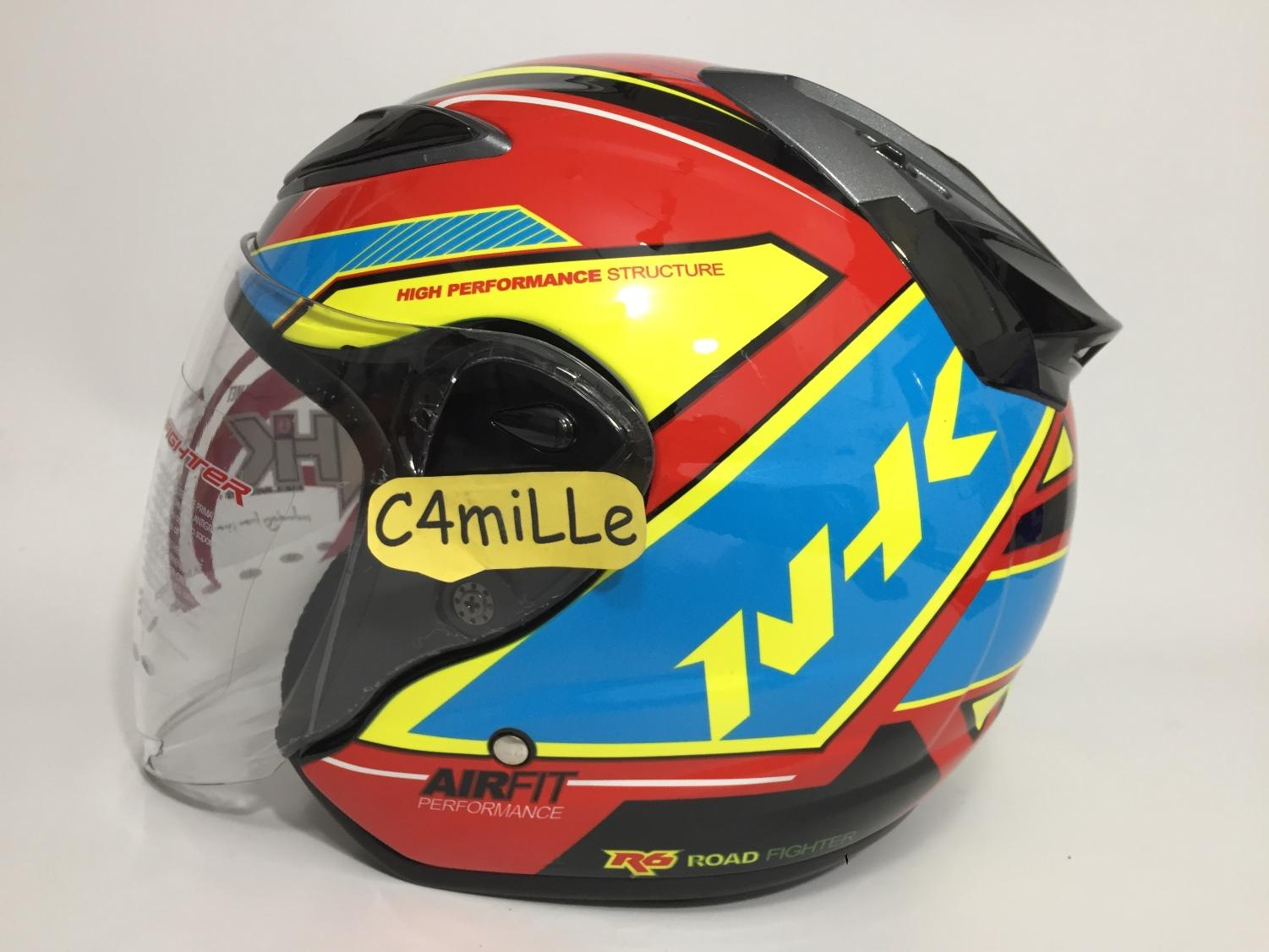HELM NHK R6 AIRFIT R RED BLUE YELLOW BLACK HALF FACE SIZE L