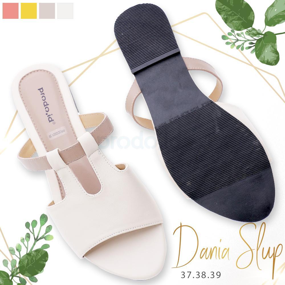 Sandal wanita promo lebaran model Dania Slup putih gading ukuran 37 awet tahan lama