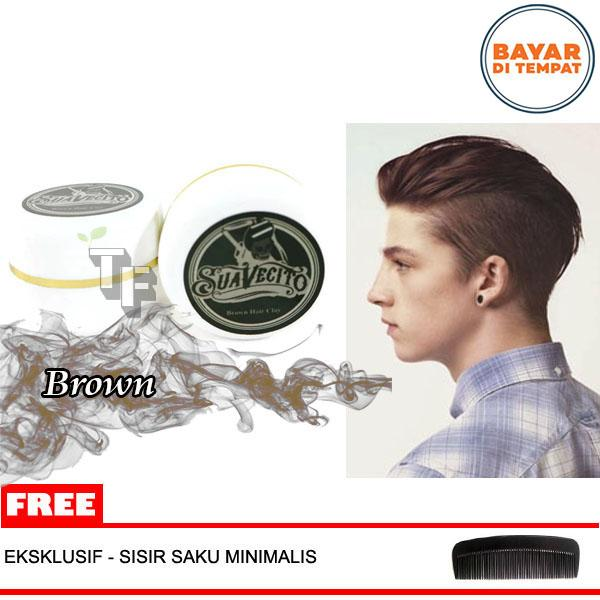Suavecito Pomade Hair Coloring Hair Styling Wax - Suavecito Pomade (35 gram) Free Sisir Brown