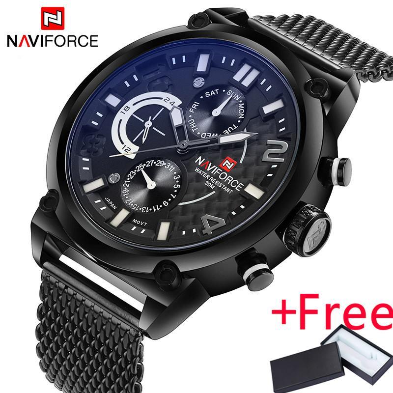 Naviforce NF9068B R B Merek Mewah Pria Stainless Steel Analog Jam Tangan Pria QUARTZ 24 Jam Tanggal