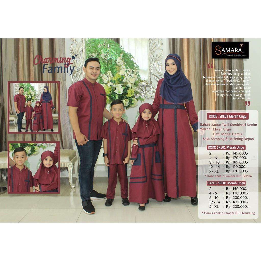 sarimbit keluarga/baju couple keluarga/sarimbit samara/baju keluarga branded/SR.E01 (gamis anak 4-6)