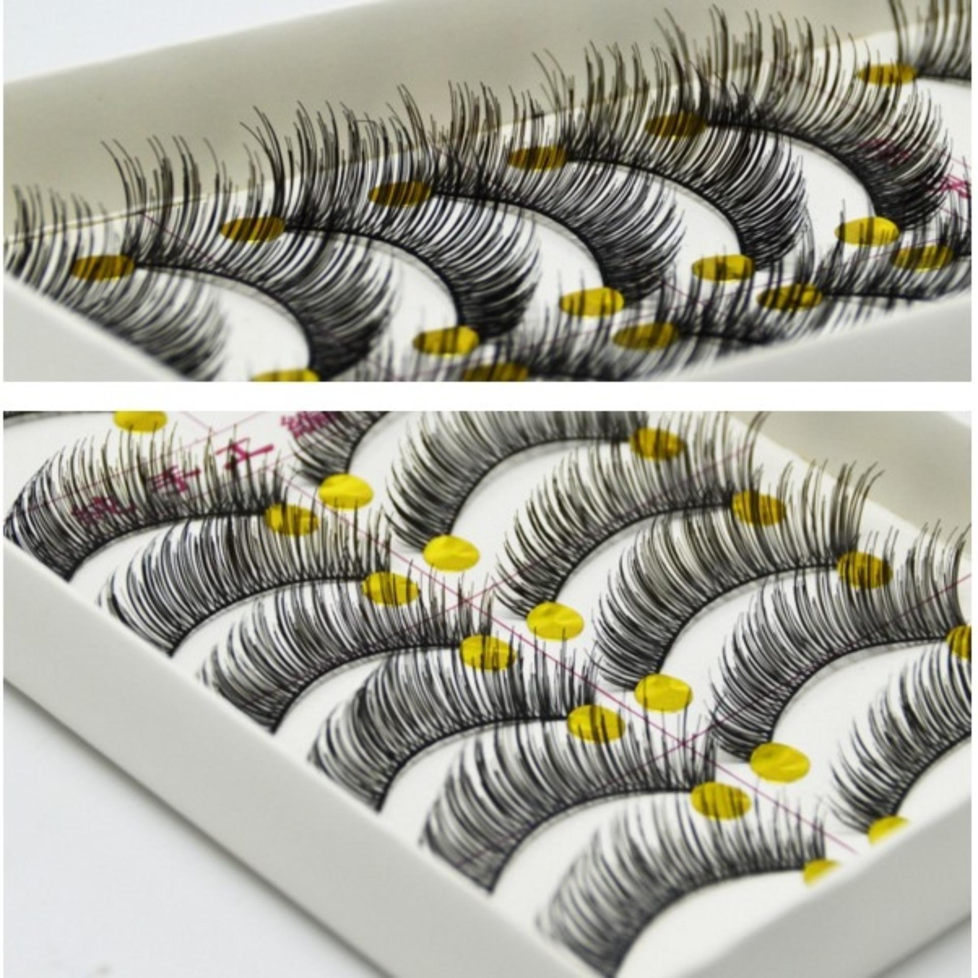 10 Pasang bulu mata palsu warna hitam tebal dan tampak natural (7700)