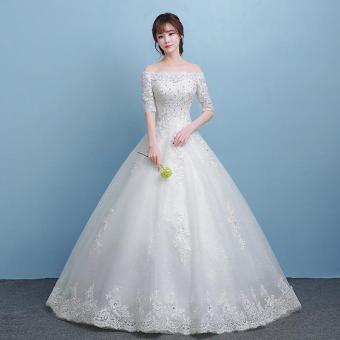 Pencarian Termurah Model bahu terbuka cahaya gaun resepsi gaun pengantin  2018 model baru pengantin wanita menikah istana menyentuh tanah Terlihat  Langsing ... 2829178089