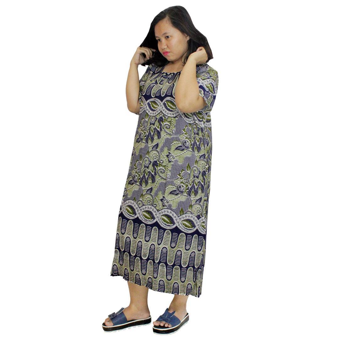 Daster Jumbo Lengan Pendek Batik, Baju Tidur Jumbo, Piyama Jumbo, Leher Kerut (DPT003-07)