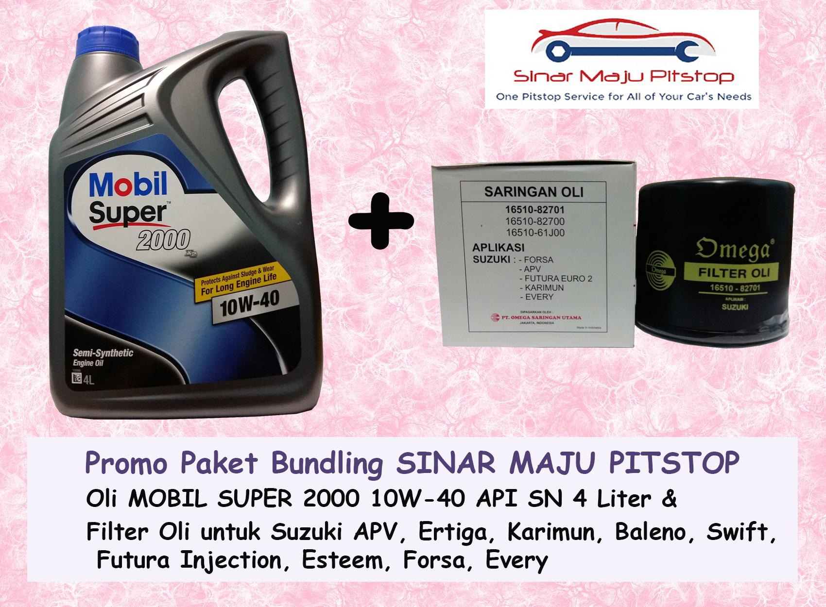 Promo Paket Bundling Oli MOBIL SUPER 2000 10W-40 API SN 4 LITER & Filter Oli SUZUKI ERTIGA & SUZUKI APV & SUZUKI BALENO ORIGINAL