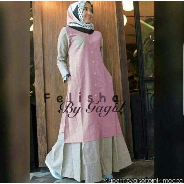 Flash Sale Felisha Dress - Gamis Wanita Murah / Baju Murah / Dress Remaja | Baju Lebaran Muslim