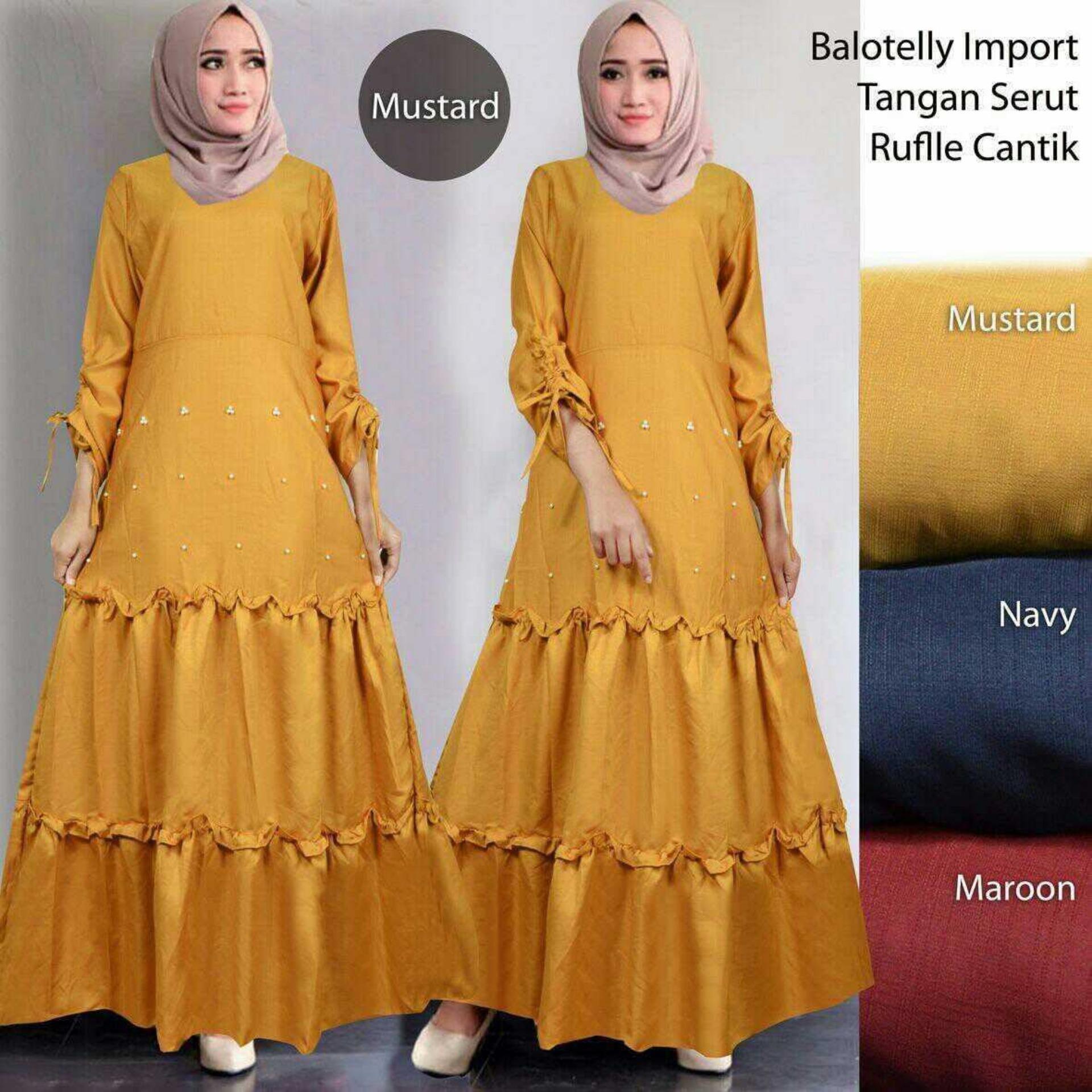 Maxi Dress Lengan Panjang Baloteli MSR305 / Gamis Syari Kasual / Gaun Pesta Muslimah / Baju