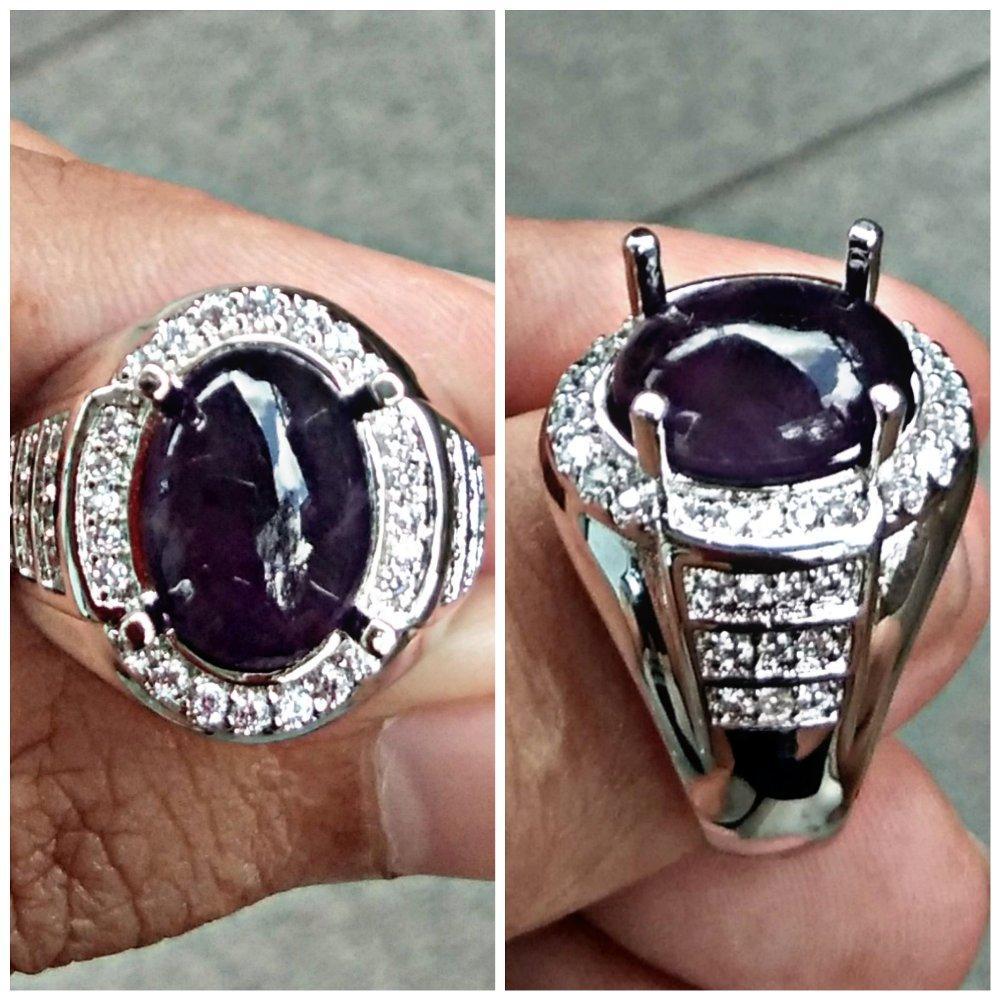 New Promo Kecubung Ungu Big Size Asli Ring Perak Cina Natural Amethyst By Aufa Gems.