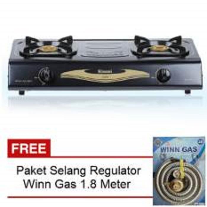 Rinnai Kompor Gas 2 Tungku Rl-522C + Free Selang Regulator Win Gas 1.8 M SNI