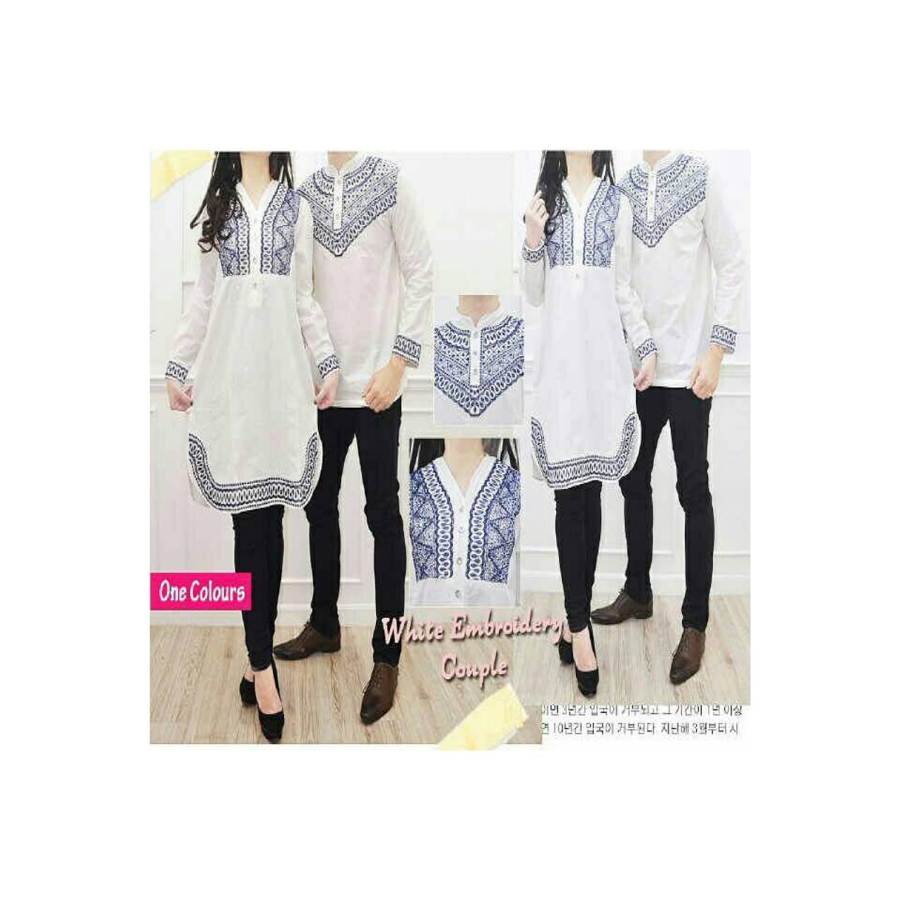 Spesial couple white embrodery dress + koko tasmatas lengan panjang