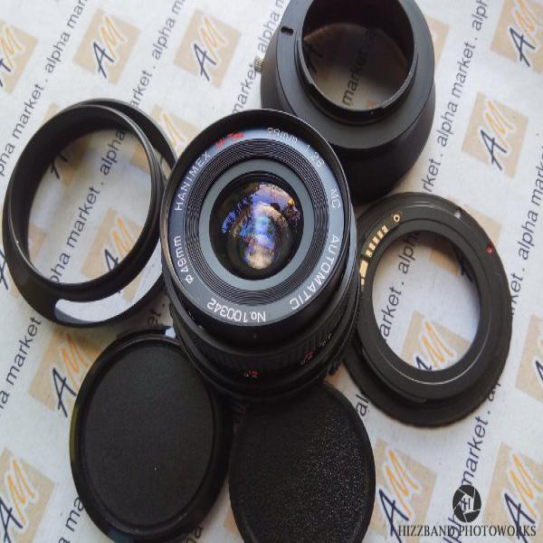 EXC Lensa Manual Fix Wide Hanimex 28mm f2.8 M42 canon nikon sony nex alpha fujifilm fx olympus lumix xiaomi mirrorless m4 3 mft bukan zeiss pentax