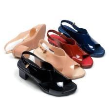 Sandal Hak Tinggi Wanita - Jelly Shoes Heels Tali Belakang BBJ80136 Warna Dikirim Random