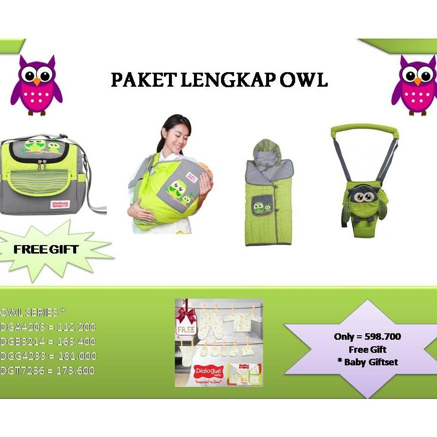 Dialogue Baby Paket Lengkap Owl Series (baby Walker + Gendongan Samping Bayi + Selimut Topi Bayi + Tas Bayi Medium) - Dpo001 By Dialogue Group.