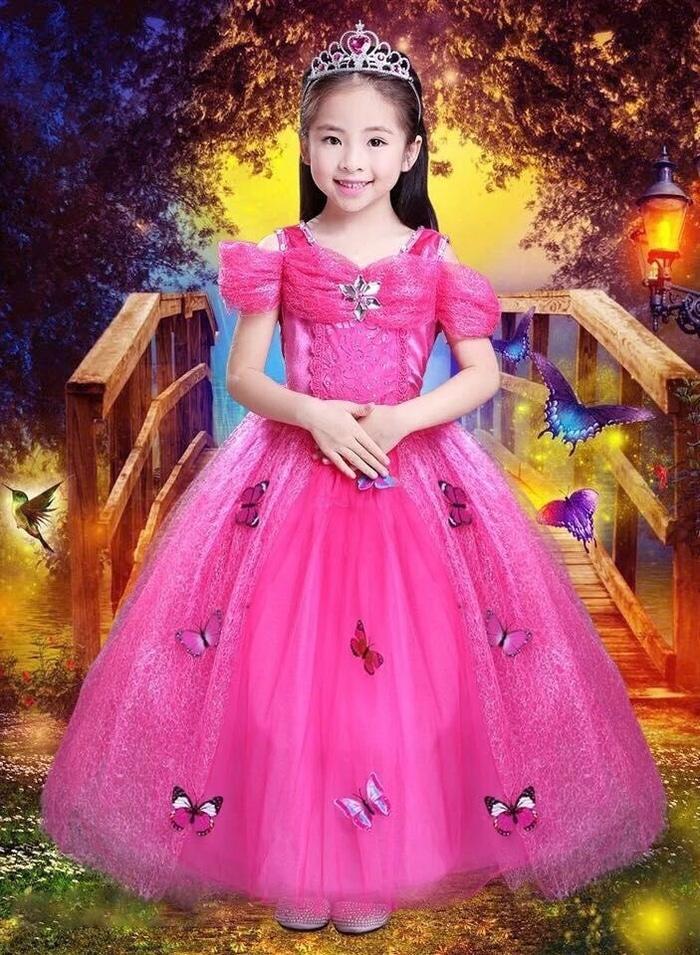 Dress Baju Kostum Gaun Princess Putri Cinderella Pink Tangan Pendek