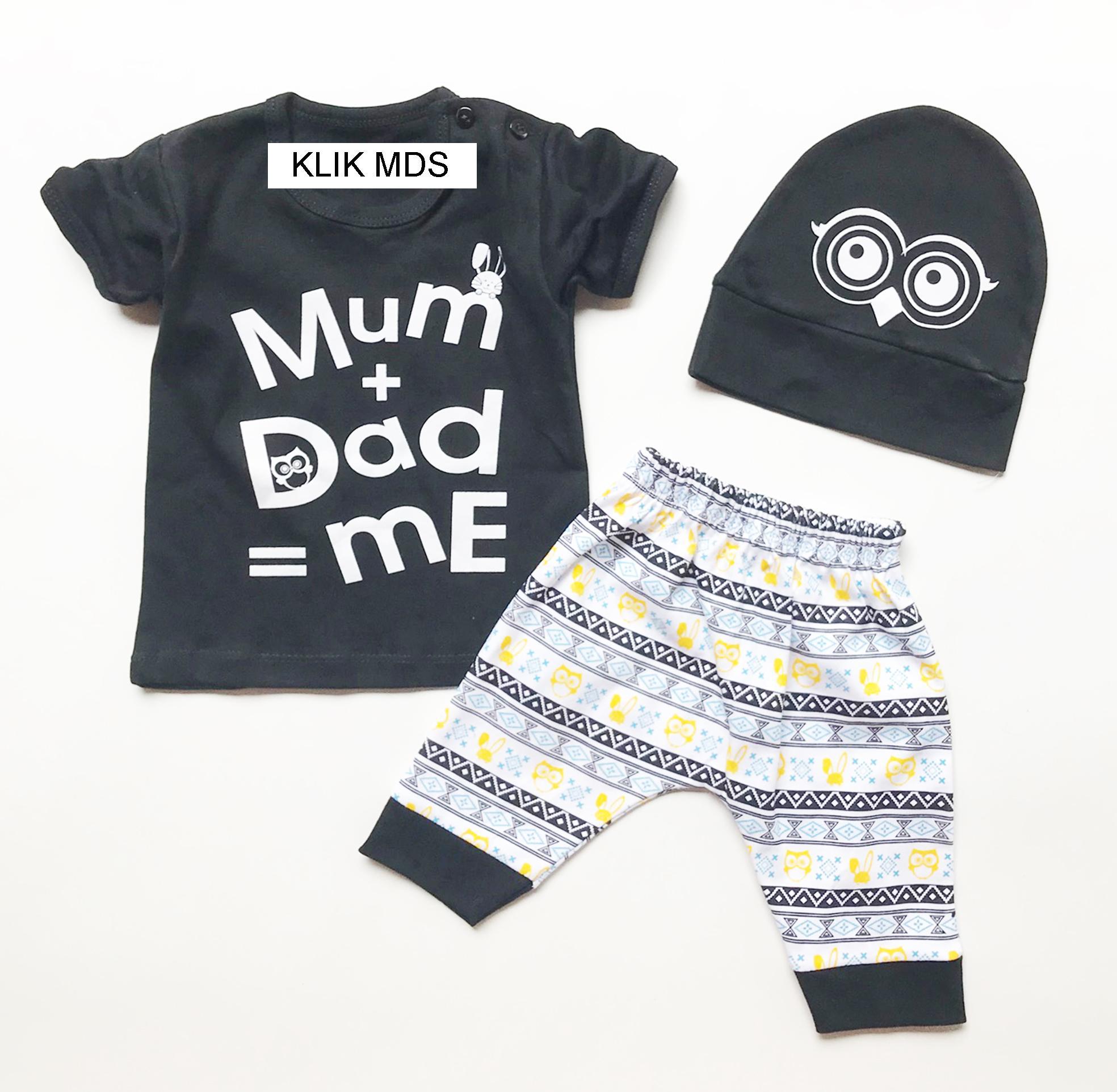 Klik Mds Baju Anak Lelaki Setelan Atasan dan Celana Motif Karakter Mum and Daddy is Me Free Topi