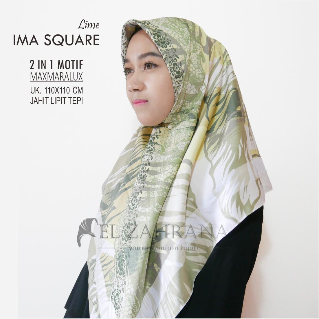 El Zahrana Hijab Kerudung Segi Empat Jilbab Segi Empat Jilbab Motif Premium Square .