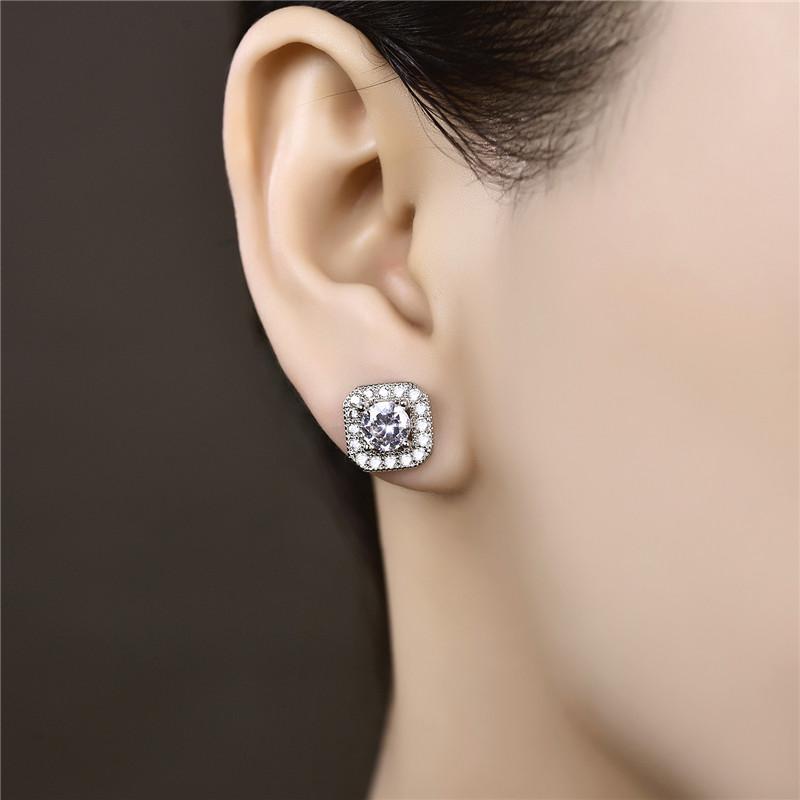 Anting Tusuk Lapis Emas Putih Silver Batu Zircon Imitasi Berlian