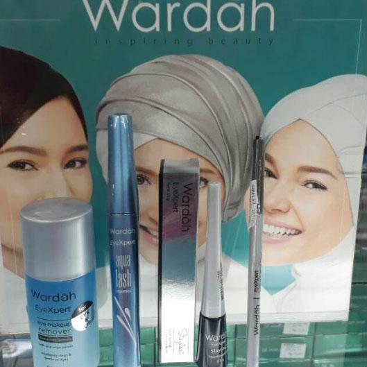 PAKET EYE EXPERT WARDAH ( Eye Makeup Remover 50 ml , Aqua lash Maskara 6g , Sylish Liquid Eyeliner 3,5 gr , Brow Matic Pencil Deep Grey)