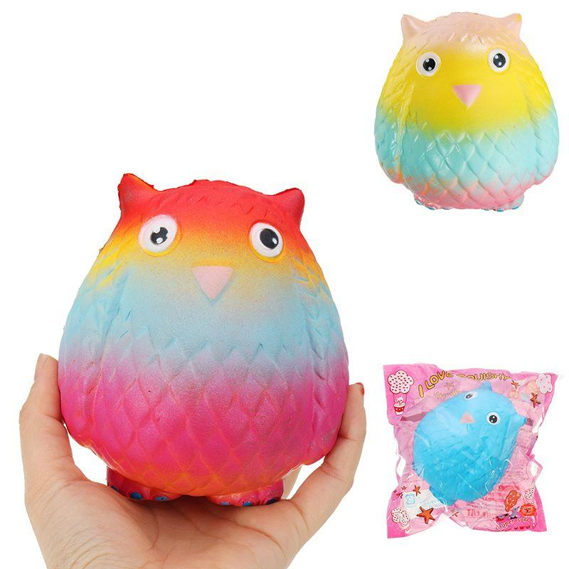 Jumbo Squishy Rainbow Owl 12cm Soft Slow Rising Toy With Original Packing