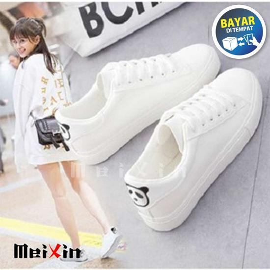 Sepatu Kets Putih Motif Panda Belakang  / Kets Sneaker Wanita Korea Casual Lucu
