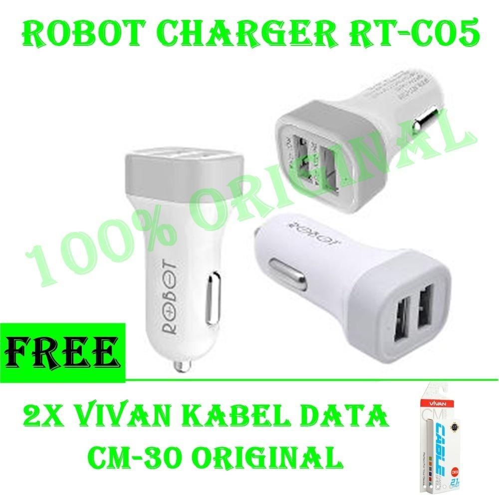 Vivan Robot Car Charger Rt C05 Putih Daftar Harga Terkini Dan Type Double Usb 5v 1a 21a Dual Ports Original Free 2x Kabel Data Micro
