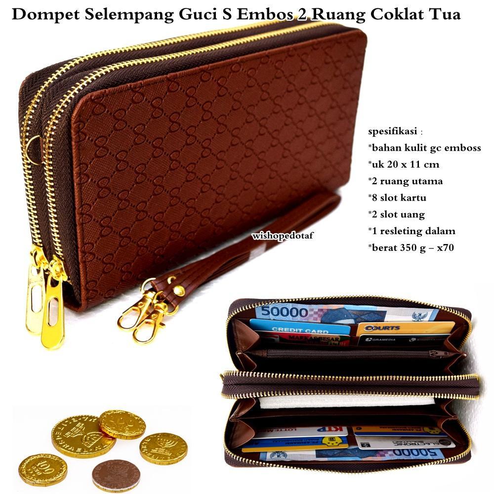 Dompet wanita kulit selempang GC-s emboss 2 ruang