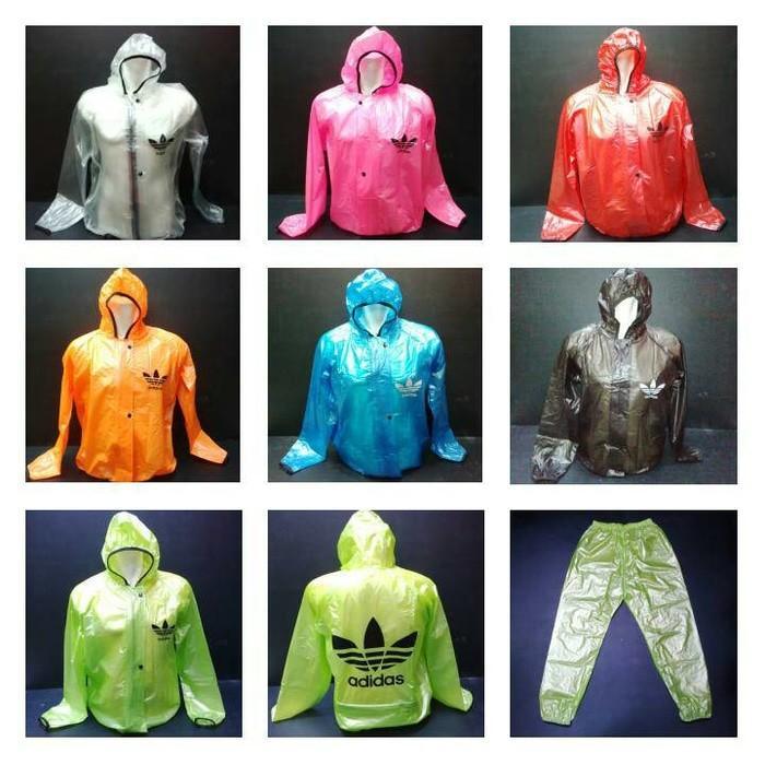 jas hujan adidas transparan/jaket celana/raincoat adidas transparan/mantel hujan adidas transparan/bahan karet