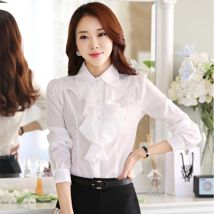 Kemeja Korea Modis Gaya Jersey Rayon Putih Model Musim Semi atau Musim Gugur Perempuan Kerah Boneka Lengan Panjang Flounced Ramping Profesi bawahan (Hitam)