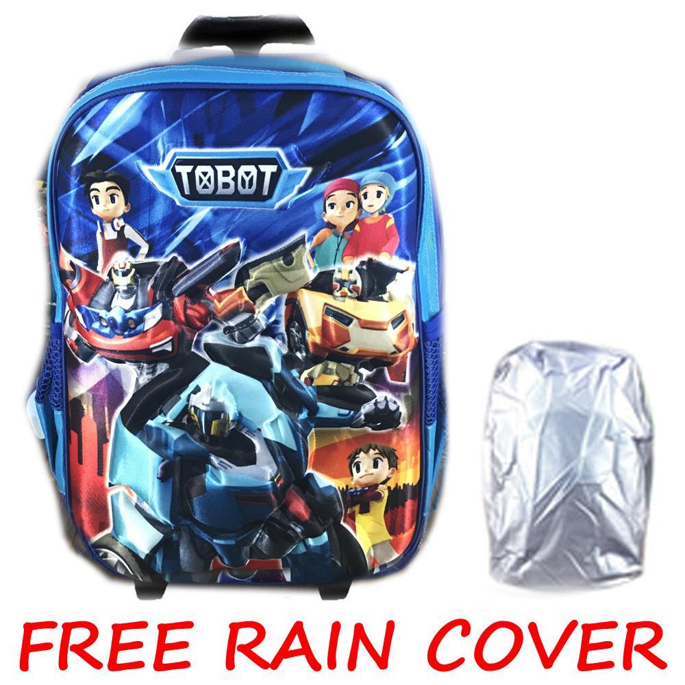 BGC Tas Troley Sekolah Anak SD + Rain Cover  Robot Tobot 3D Timbul Hard Cover - Biru