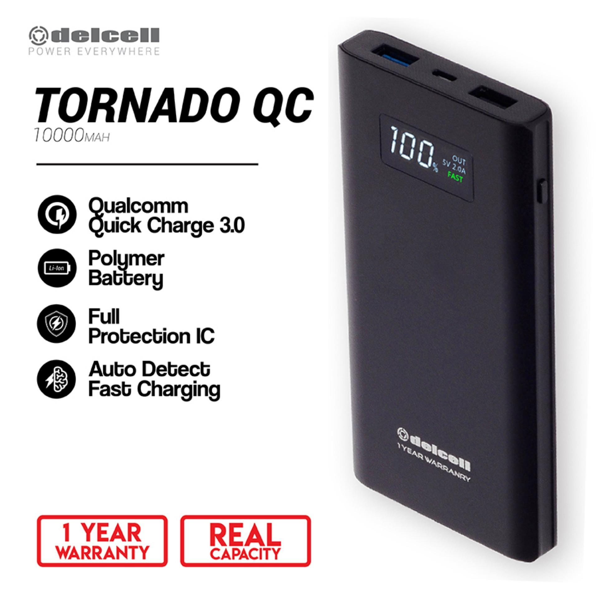 Delcell 10000mAh Powerbank TORNADO Support Quick Charge 3.0A Real Capacity Polymer Battery Slim Powerbank Garansi Resmi 1 Tahun Dual Output Power Bank Berkualitas - Black - Black