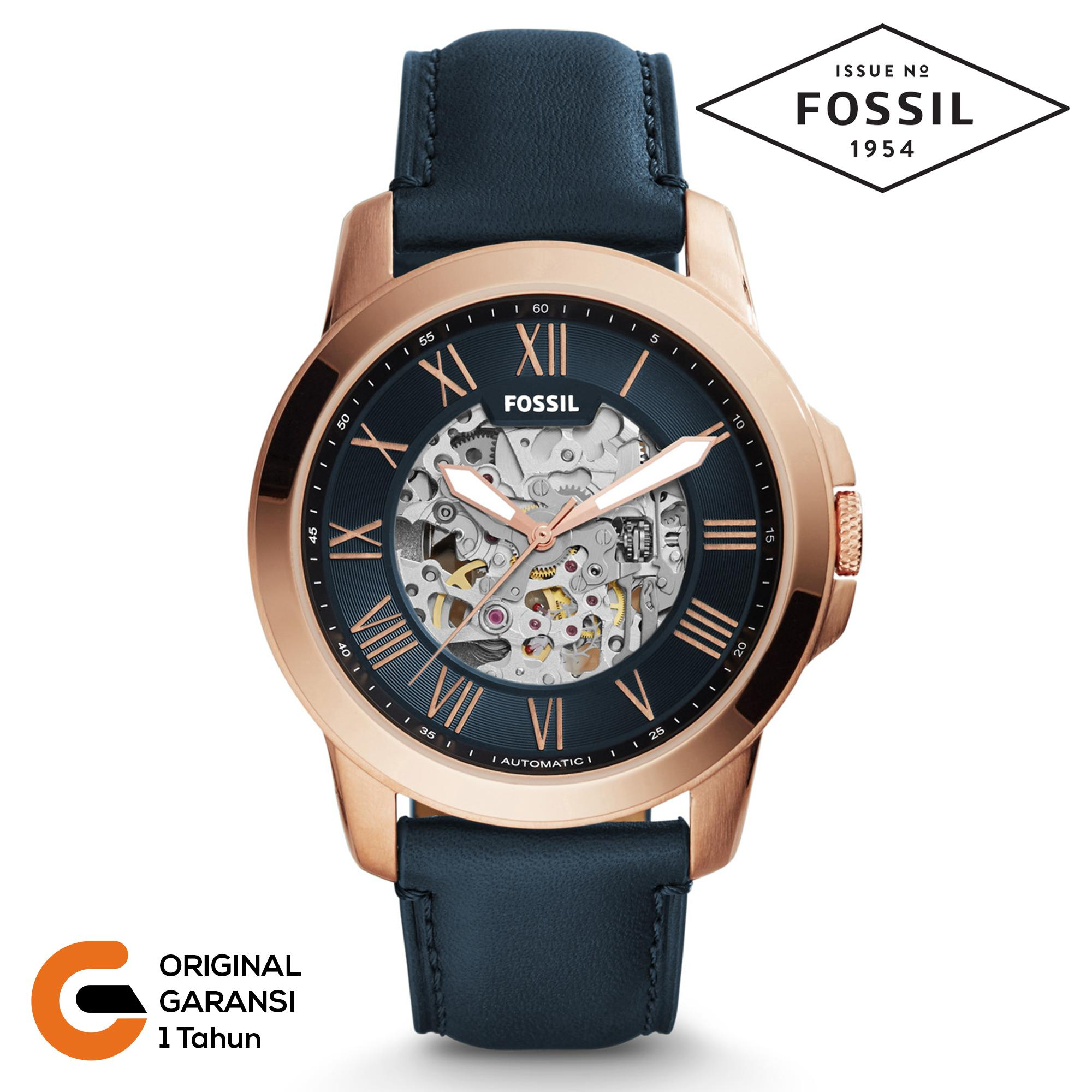 Fossil Jam Tangan Pria Fossil Grant Automatic Tali kulit Leather / Rantai Logam Stainless Steel Mechanical