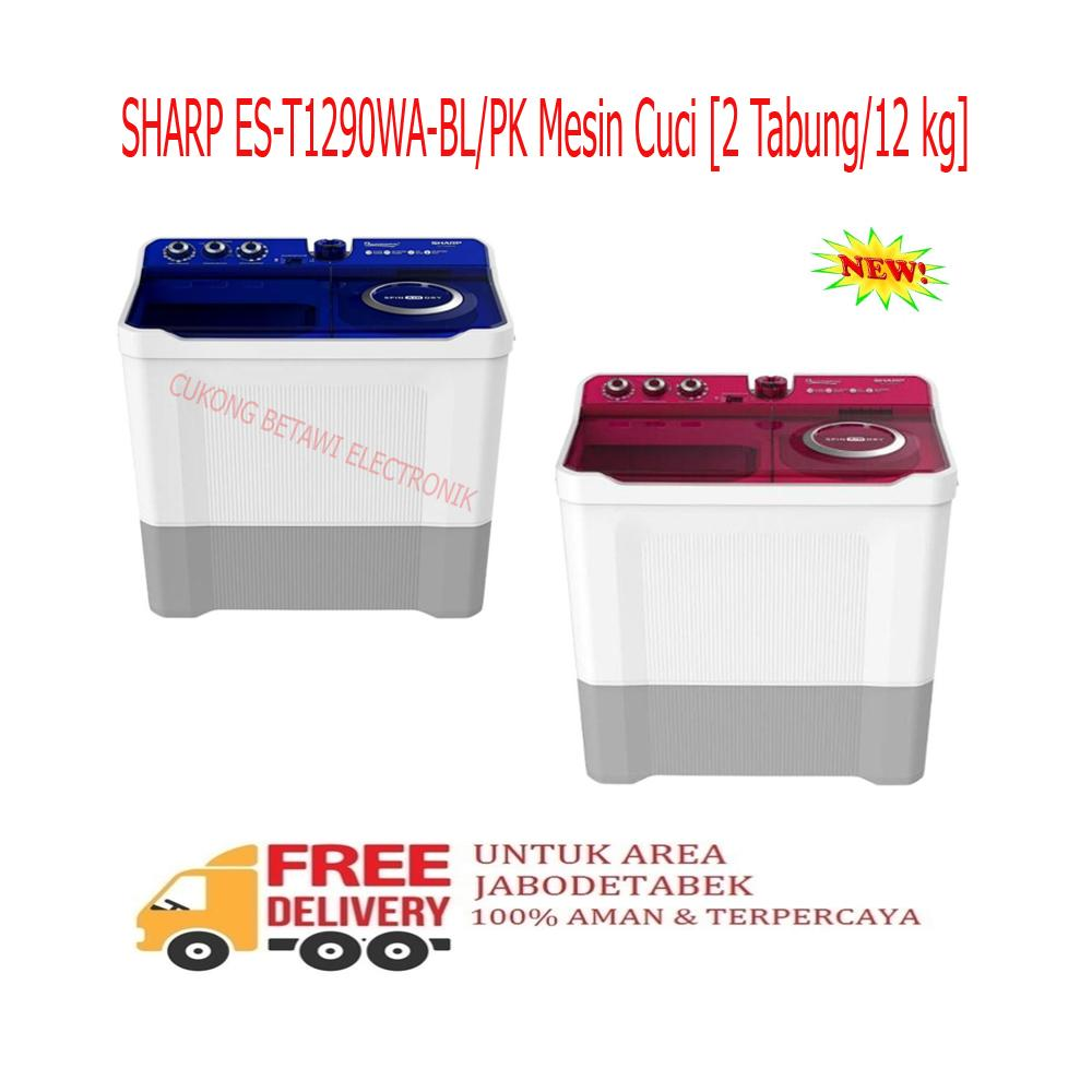 Info Harga Sharp Twin Tub Washer Est77fpb Termurah 2018 Samsung Mesin Cuci Top Loading Wa95j5710sg Abu