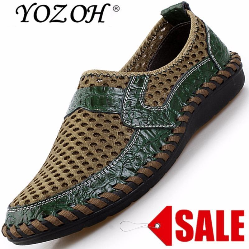 YOZOH Musim Panas Bernapas Mesh Sepatu Sepatu Kasual Pria Kulit Asli SLIP ON Brand Fashion Sepatu Musim Panas Pria Lembut Nyaman dengan Harga Yang Murah Namun Bersaing-Hijau-Intl