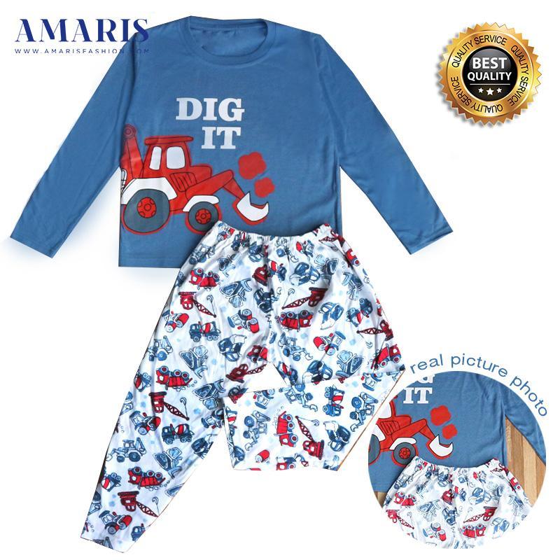 Amaris Fashion - Setelan Piyama Anak Laki laki - Baju Setelan Dig It 4-14