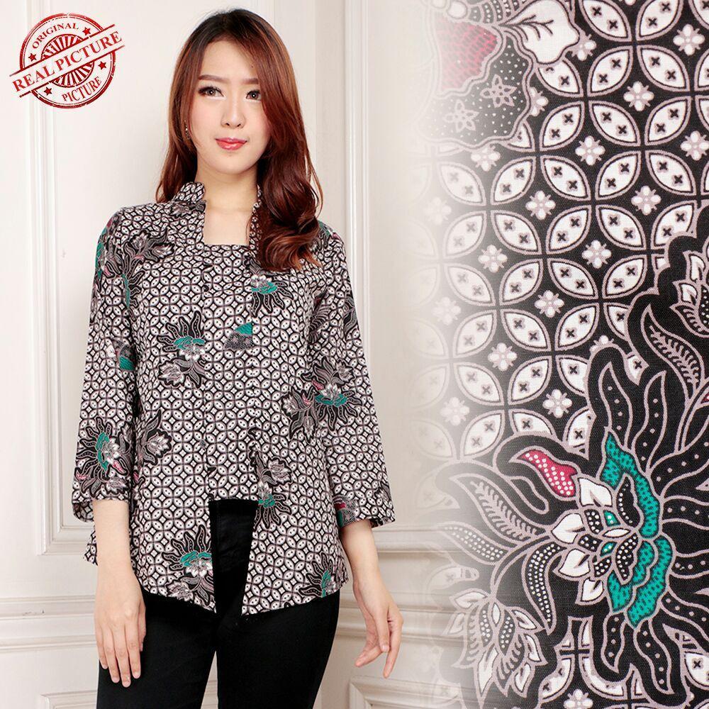 168 Collection Atasan Abaya Blouse Tiara Lengan 7 8 Batik Wanita .