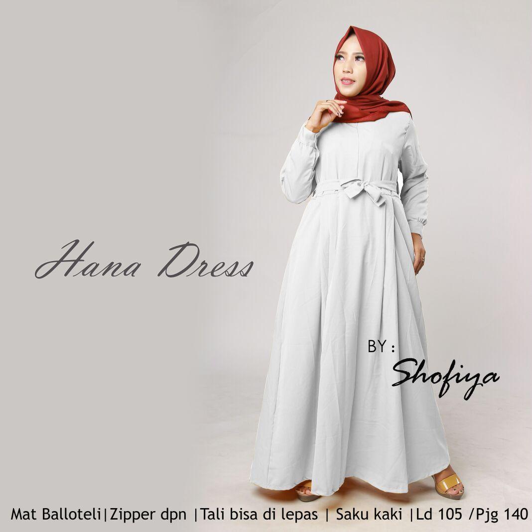 Hanna Long Dress Gamis Maxi Tangan Panjang Wanita Dewasa -  Gamis polos baloteli / Lengan Plipit Bunga Busana Muslim Wanita Gamis Murah Baju Lebaran Baju Pesta
