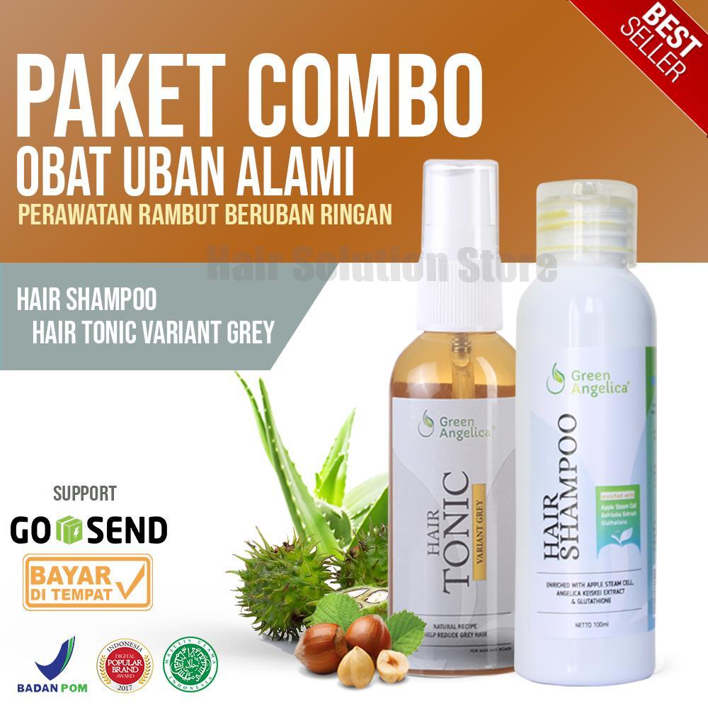 Obat Uban Penghitam Rambut & Shampo Green Angelica Untuk Rontok Ketombe dan Menghitamkan Uban Rambut Herbal