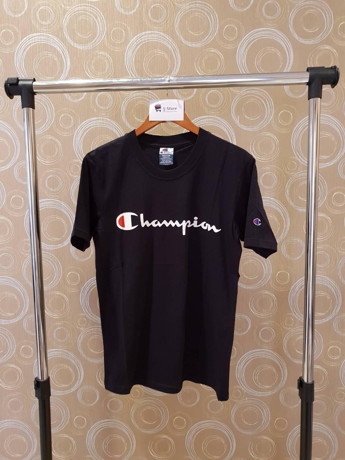 Kaos champion logo import distro high quality hitam unisex