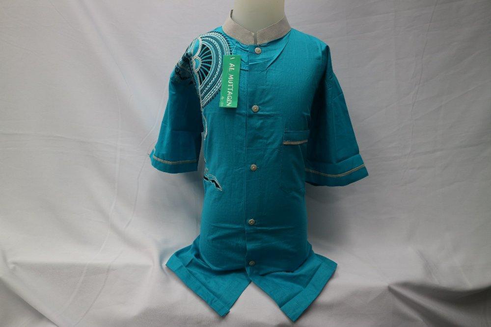 Baju Muslim Anak Pakaian Anak Laki - laki Lengan Pendek Bordir Baju Koko Biru Muda Grosir Tanah Abang Al Muttaqin KKT 056 di lapak Al Muttaqin Collection produsenbajukoko