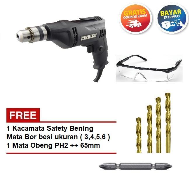 Mesin Bor Besi Kayu 10 mm BA 632 Doliz Free Kacamata Safety Bening, Mata Bor