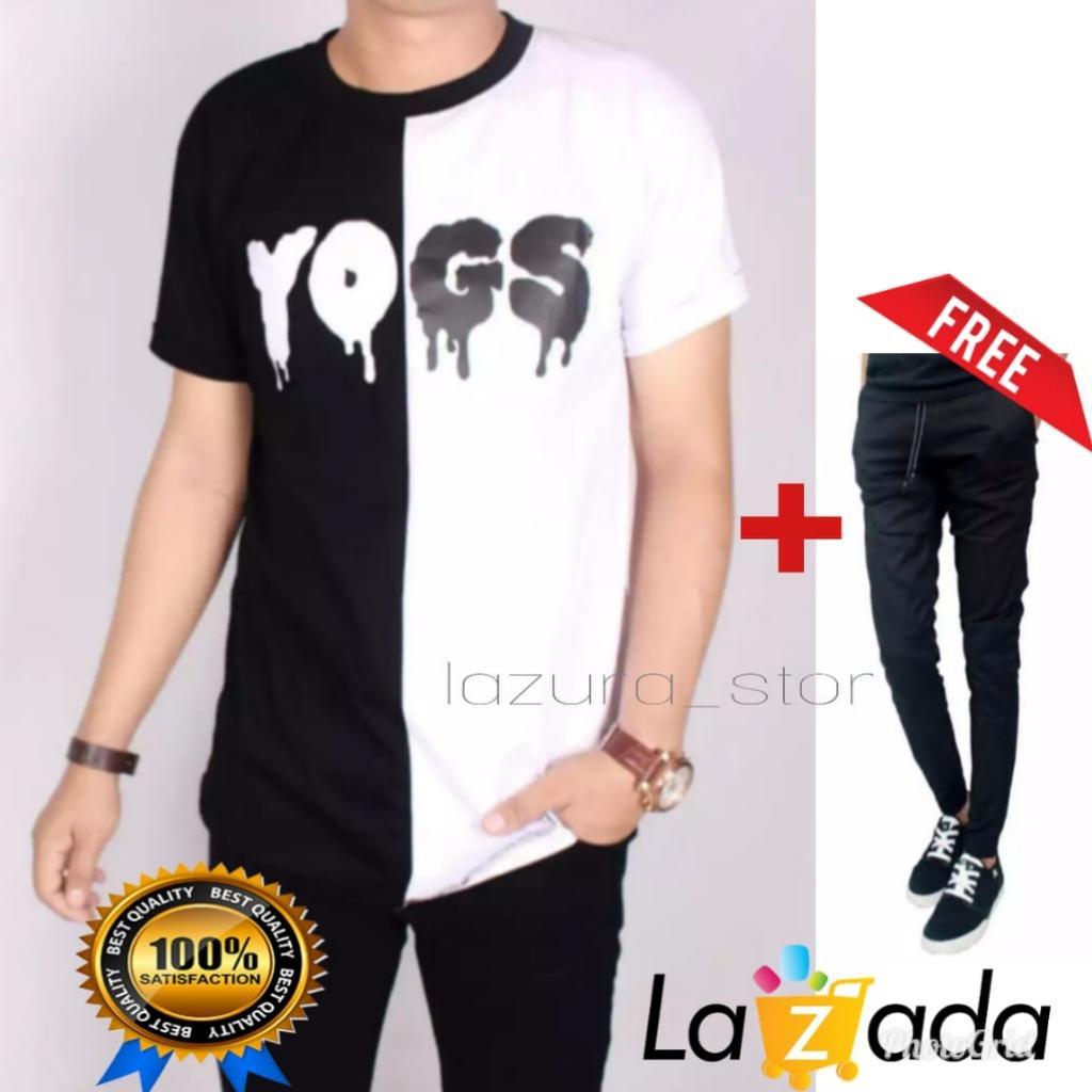 Kaos YOGS Pria Lengan Pendek Hitam Putih YoungLex Kombinasi / Baju Kaso Distro YOGS Cowok Katun Exclusive free joger