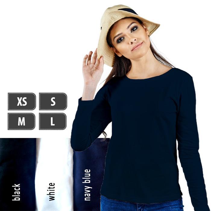 Kaos Polos Lengan Panjang  Wanita 100% Soft Combed XS S M L