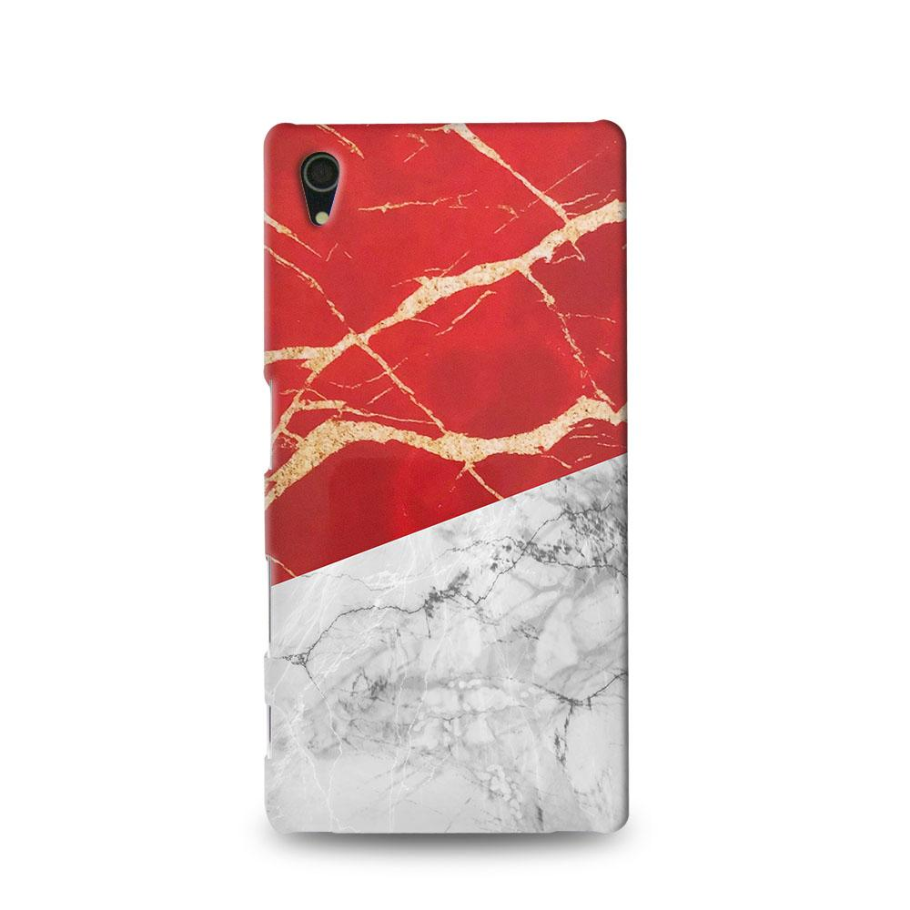 Premium Case Indonesia Red White Marble Flag Sony Xperia Z4 Hard Case Cover
