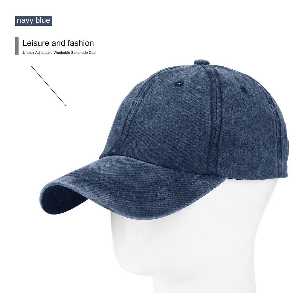Outdoor Unisex Adjustable Mudah Dicuci Topi Kerai Topi Runcing Topi Bisbol Topi Biru Dongker-Intl